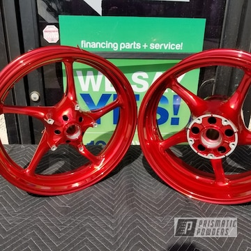 Powder Coated Custom Red Motorcycle Wheels