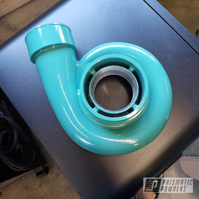 Powder Coating: Automotive,Turbo Housing,F100,Poseidon Green PSS-3047,Turbo,Ford