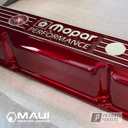 Powder Coating: Automotive,LOLLYPOP RED UPS-1506,Mopar,Engine Parts,Valve Cover
