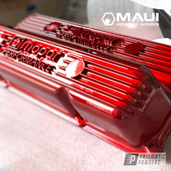 Powder Coating: Automotive,LOLLYPOP RED UPS-1506,Mopar,Engine Parts,Valve Cover