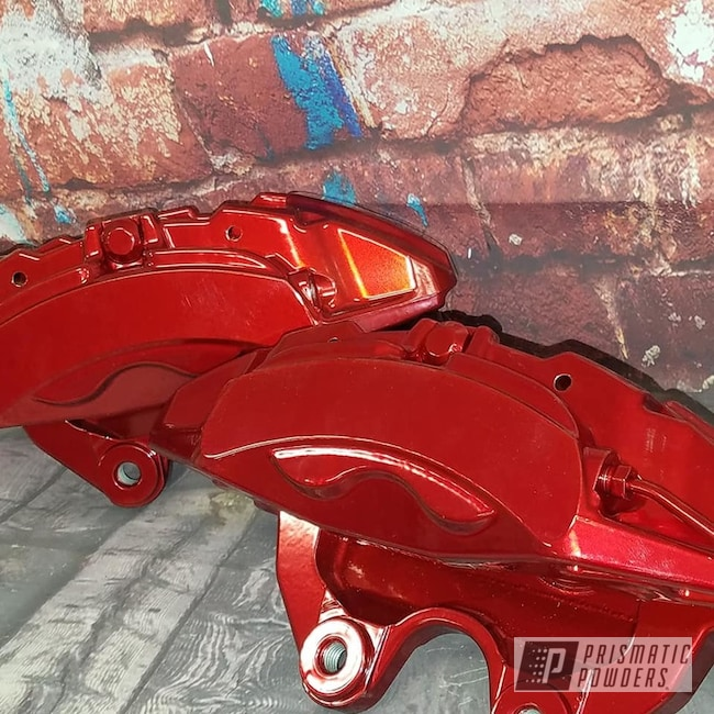 Powder Coating: Automotive,Calipers,SUPER CHROME USS-4482,Brake Calipers,Rancher Red PPB-6415