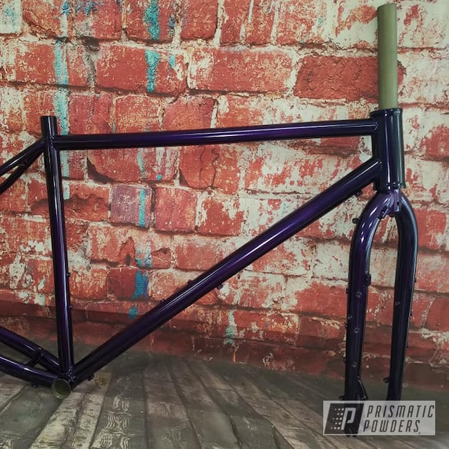 Powder Coating: Bicycles,SUPER CHROME USS-4482,Lollypop Purple PPS-1505,Bicycle Frame