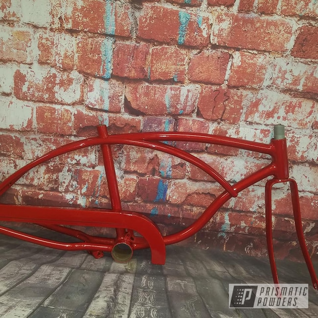 Powder Coating: Bicycles,Clear Vision PPS-2974,Illusion Red PMS-4515,Bicycle Frame