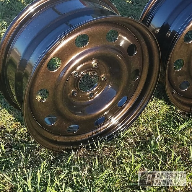 Powder Coating: Wheels,Rootbeer Metallic PMB-4107,Automotive,Rims,Powder Coat Wheels,Steel Rims