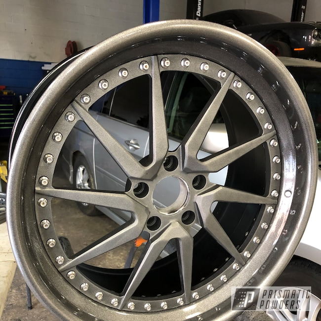 Powder Coating: Wheels,Automotive,Clear Vision PPS-2974,BMW,Kingsport Grey PMB-5027,Casper Clear PPS-4005,Astatic Red PSS-1738