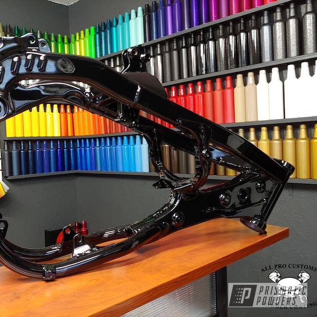 Powder Coating: Motorcycle Frame,GLOSS BLACK USS-2603,Motorcycles