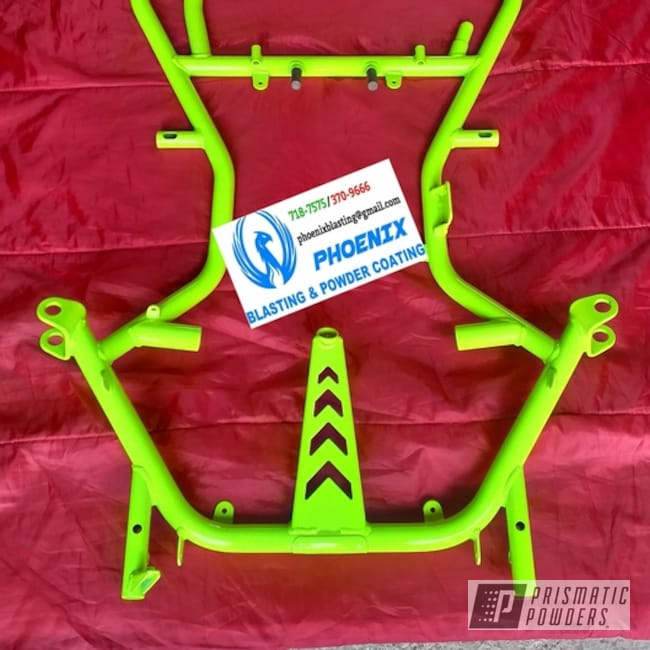 Powder Coating: Powder Coated Go Cart,Clear Vision PPS-2974,Neon Yellow PSS-1104,Frame,Go Cart