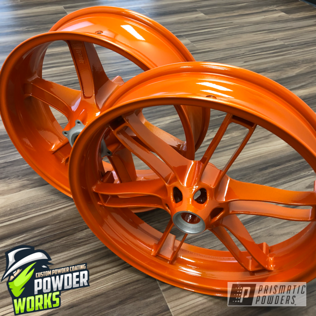 Powder Coating: Clear Vision PPS-2974,Motorcycle Wheels,Motorcycles,Illusion Tangerine Twist PMS-6964