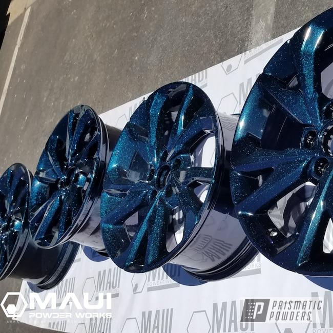 Powder Coating: Wheels,Automotive,Rims,Stock OEM,GLOSS BLACK USS-2603,Honda,Chameleon Teal PPB-5733