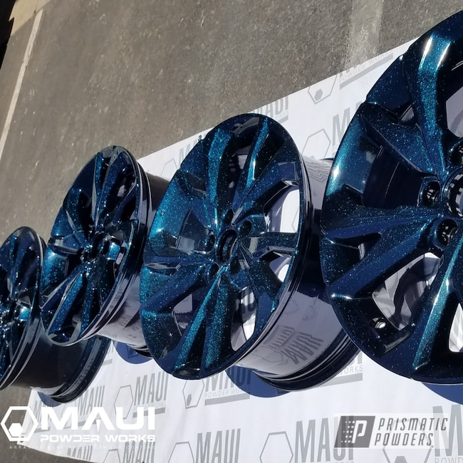 Powder Coating: Wheels,Automotive,Rims,Stock OEM,GLOSS BLACK USS-2603,Honda,Chameleon Teal PPB-5733