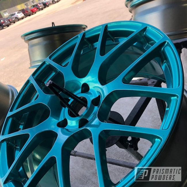 Powder Coating: Wheels,Automotive,Clear Vision PPS-2974,SUPER CHROME USS-4482,Civic,Honda,powder coating,Ackbar Teal PPB-6851