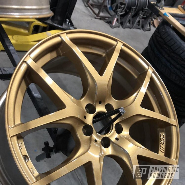 "Powder Coating: Wheels,18"",Automotive,BRZ,Clear Vision PPS-2974,Subaru,Prismatic Gold HMB-4137"