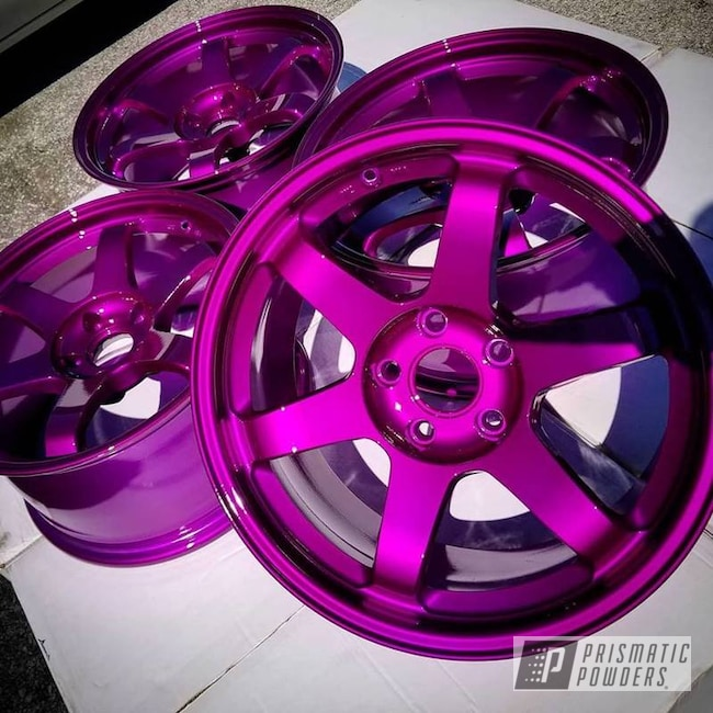 "Powder Coating: Wheels,19"",Automotive,Clear Vision PPS-2974,19"" Aluminum Rims,Illusion Violet PSS-4514"