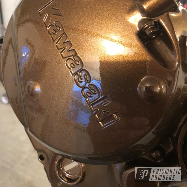 Powder Coating: Kawasaki,Clear Vision PPS-2974,Kawasaki Motorcycle,Motor Bike Parts,Super Rootbeer PMB-6335,Engine Cover