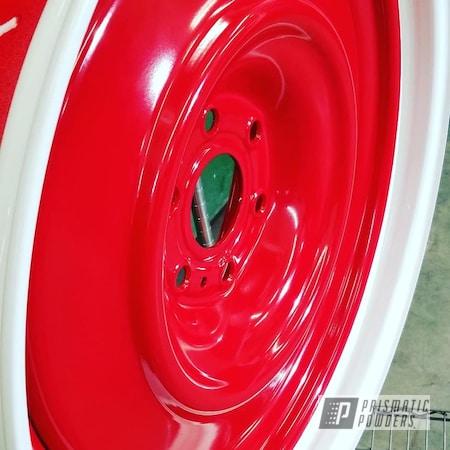 "Powder Coating: Wheels,Automotive,Custom Rims,DAVIS RED PSB-4787,22"" Wheels,22"",Cloud White PSS-0408"