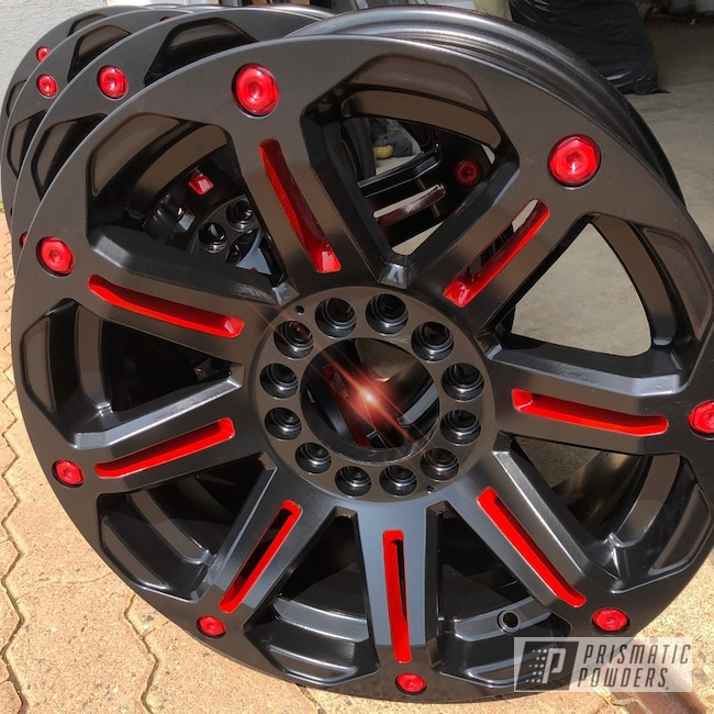 "Powder Coating: Wheels,18"",Automotive,18"",Really Red PSS-4416,BLACK JACK USS-1522"