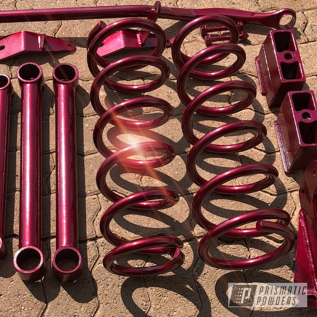 Powder Coating: Truck Parts,Automotive,Clear Vision PPS-2974,Truck Lift,Illusion Red PMS-4515,Suspension