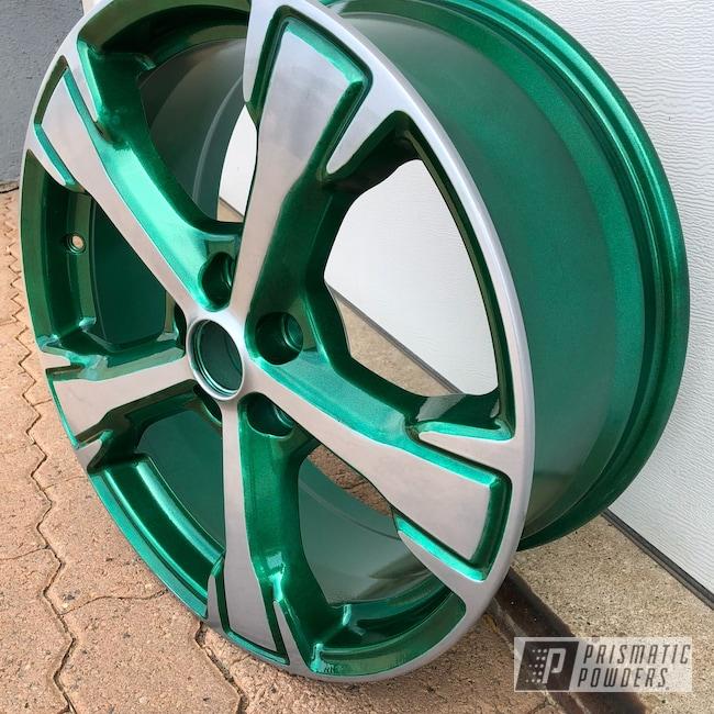 "Powder Coating: Wheels,BMW Silver PMB-6525,Automotive,Clear Vision PPS-2974,16"" Wheels,Illusion Green PMS-4516,16"" Wheel"
