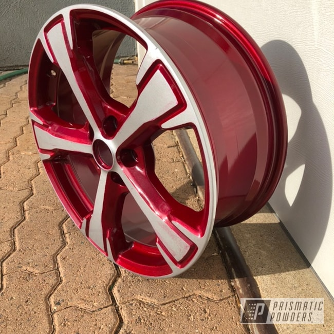 Powder Coating: Wheels,BMW Silver PMB-6525,Automotive,Clear Vision PPS-2974,Illusion Cherry PMB-6905,Two Tone