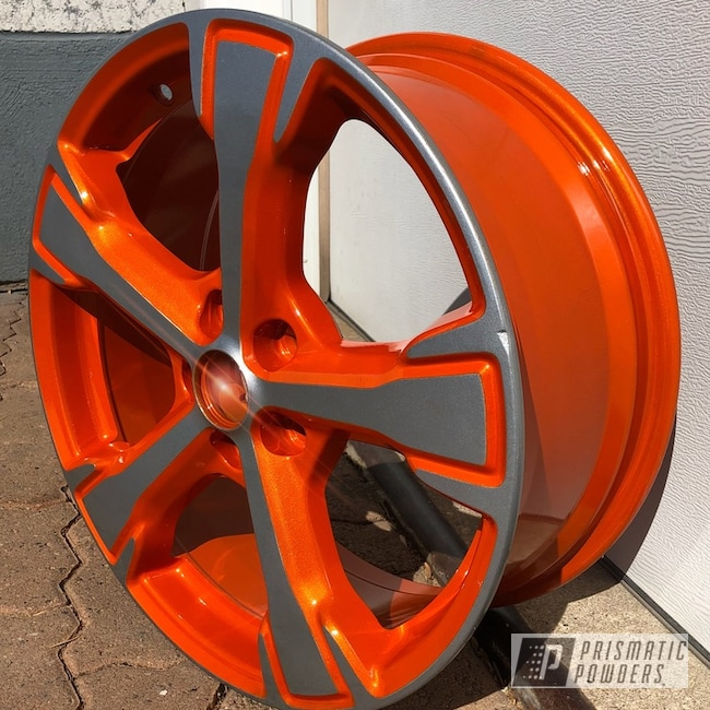 Powder Coating: Wheels,BMW Silver PMB-6525,Automotive,Clear Vision PPS-2974,Two Tone,Illusion Tangerine Twist PMS-6964