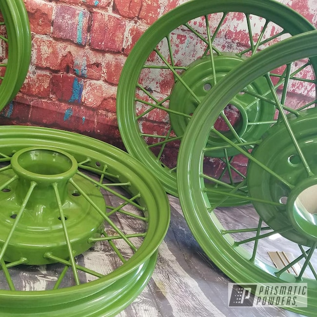 Powder Coating: Model A Wheels,RAL 6025 Fern Green,Automotive,Spoked Wheels,Vintage Car Parts