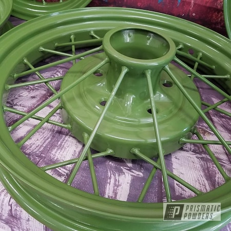 Powder Coating: Model A Wheels,RAL 6025 Fern Green,Automotive,Spoked Wheels,Vintage Car Parts