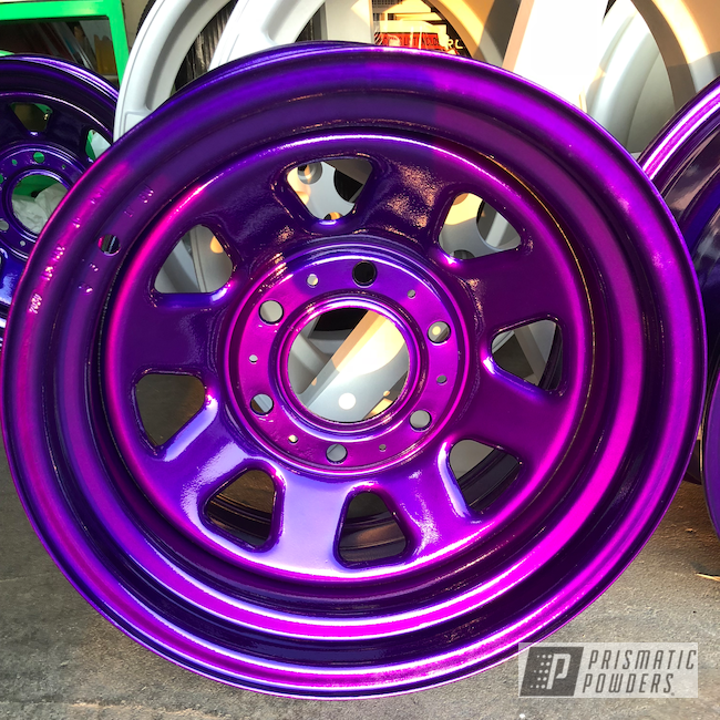 """Powder Coating: Wheels,Automotive,15"""" Steel Wheels,Clear Vision PPS-2974,Illusion Violet PSS-4514"""
