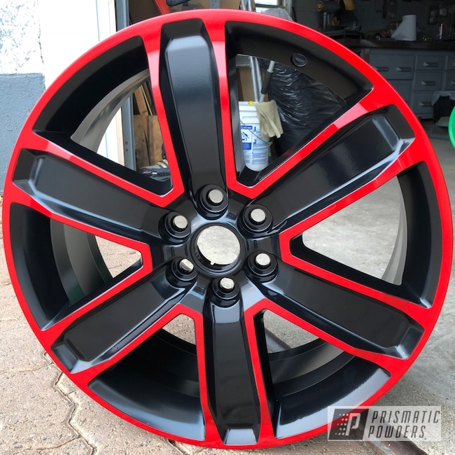 """Powder Coating: Wheels,Matte Black PSS-4455,Automotive,Really Red PSS-4416,20"""",Two Tone,Chevy"""