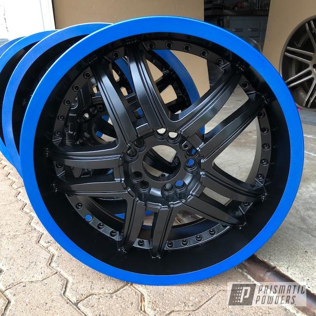 "Powder Coating: Wheels,Matte Black PSS-4455,Automotive,16"" Wheels,Two Tone,Cambridge Blue PMB-1031"