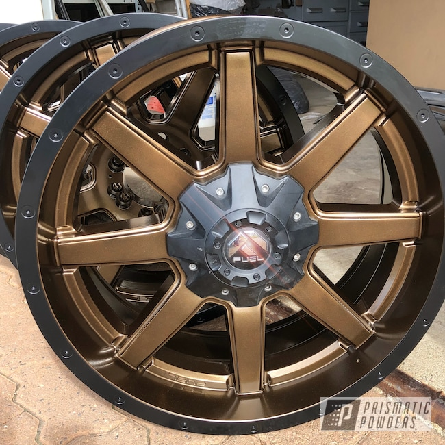 "Powder Coating: Wheels,Matte Black PSS-4455,Automotive,20"" Wheels,Bronze Chrome PMB-4124,20"",Fuel Wheels,Two Tone"