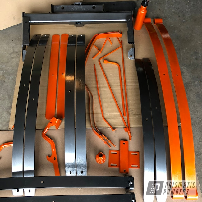 Powder Coating: Clear Vision PPS-2974,chassis,ULTRA BLACK CHROME USS-5204,Chevy,Illusion Tangerine Twist PMS-6964,Suspension