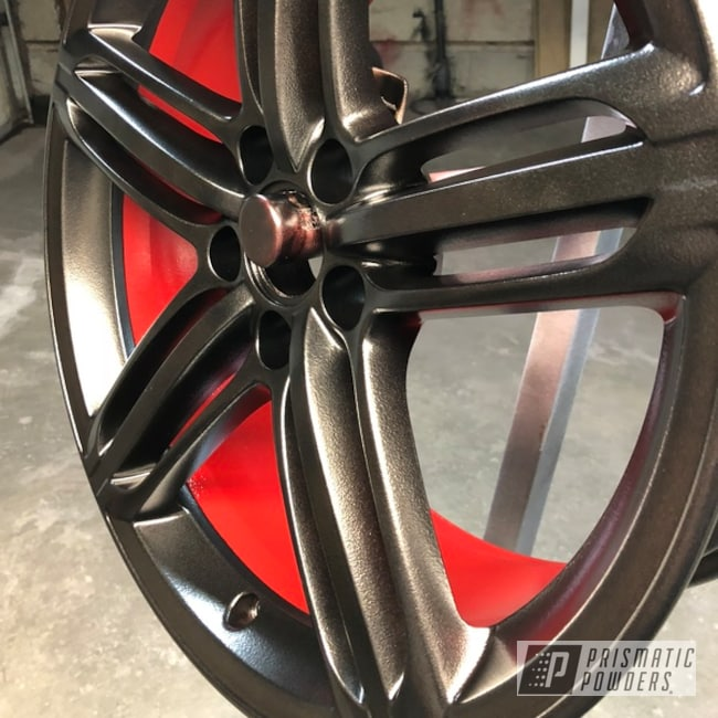 "Powder Coating: Wheels,Matte Black PSS-4455,Automotive,18"",Really Red PSS-4416,18"" Wheel,Two Tone"