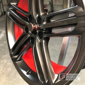 Powder Coated 18 Inch Black And Red Two Tone Wheel