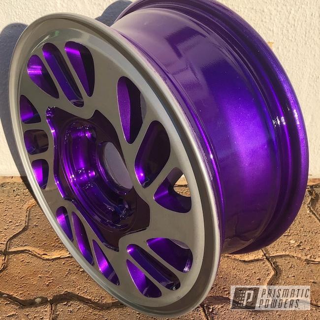 "Powder Coating: Wheels,BMW Silver PMB-6525,Automotive,Clear Vision PPS-2974,15"" Wheels,Two Tone,Illusion Violet PSS-4514"