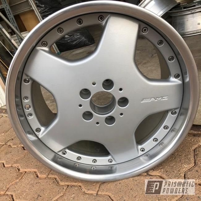 """Powder Coating: Wheels,BMW Silver PMB-6525,Automotive,18"""" Wheel,Mercedes,AMG,Casper Clear PPS-4005"""