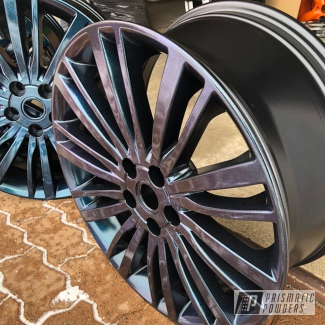 "Powder Coating: Wheels,Matte Black PSS-4455,Automotive,Land Rover,20"",Chameleon Sapphire Teal PPB-5732"