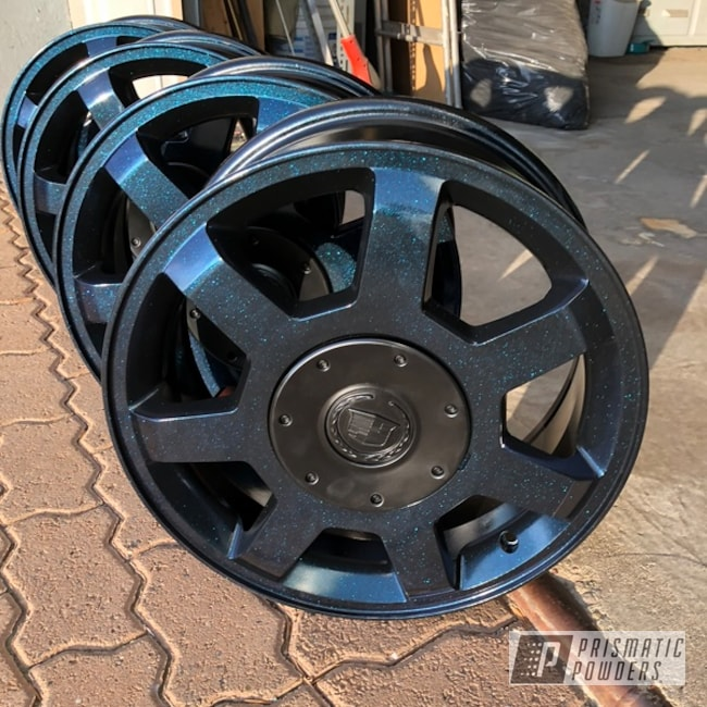 "Powder Coating: Wheels,Matte Black PSS-4455,Automotive,18"",18"" Wheel,Magnum Blue Sparkle PPB-5078,Cadillac"