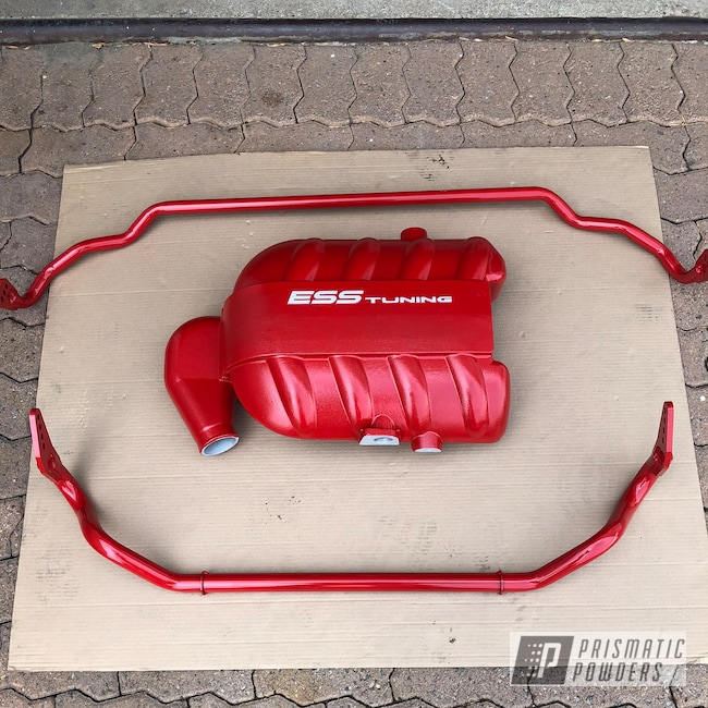 Powder Coating: Intake Manifold,Automotive,Really Red PSS-4416,Cloud White PSS-0408,misc parts,Sway Bar