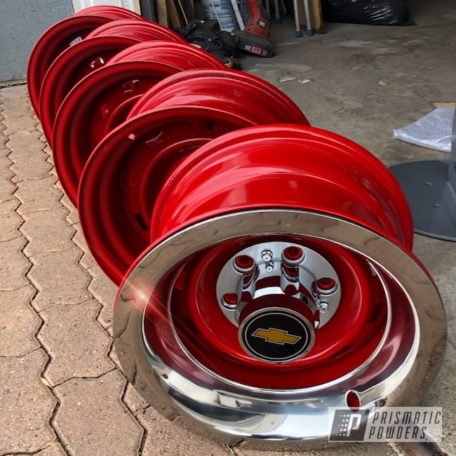 "Powder Coating: Wheels,Automotive,Really Red PSS-4416,Rally Wheels,15"" Wheels,Chevy,15"" Wheel"