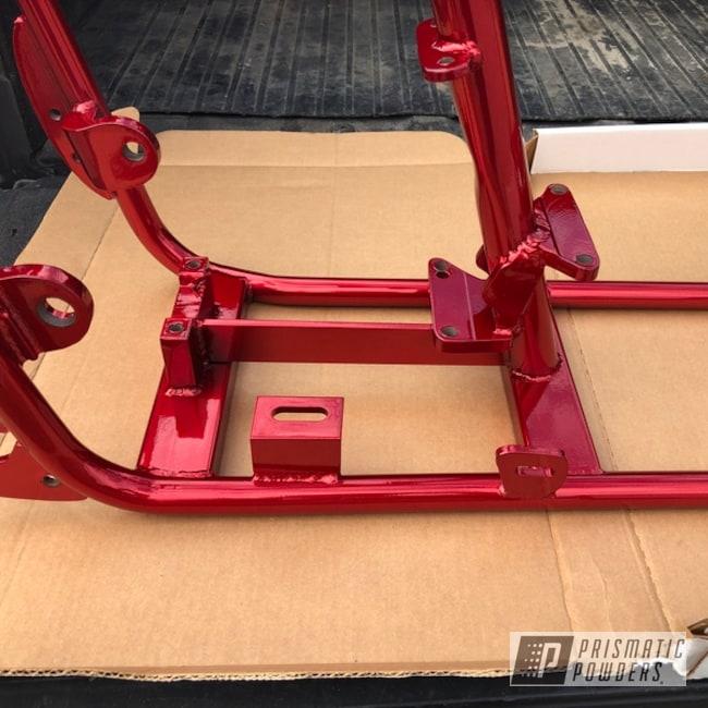 Powder Coating: DAZZLING RED UPB-1453,Custom,Harley Davidson,SUPER CHROME USS-4482,Motorcycle Frame,Chopper Frame,Harley,Old