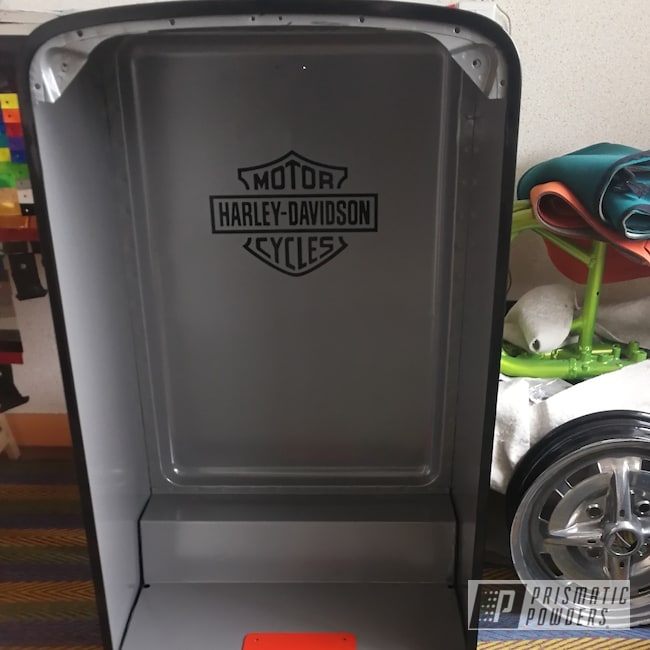 Powder Coating: Harley Orange II PMB-2831,Appliance,Harley Davidson,Refrigerator,Fridge,Ink Black PSS-0106,1957,Harley Davidson Theme,Home Appliance