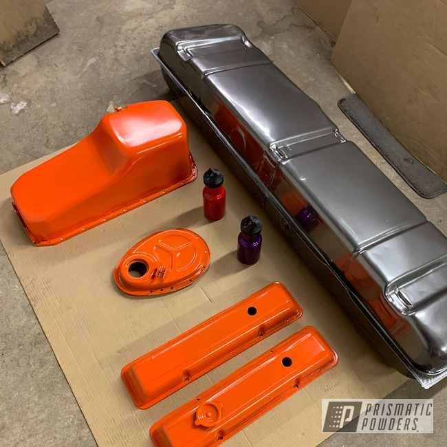 Powder Coating: Automotive,Fuel Tank,Valve Covers,Oil Pan,Chevy Orange PSS-0163,Chevy,Automotive Parts