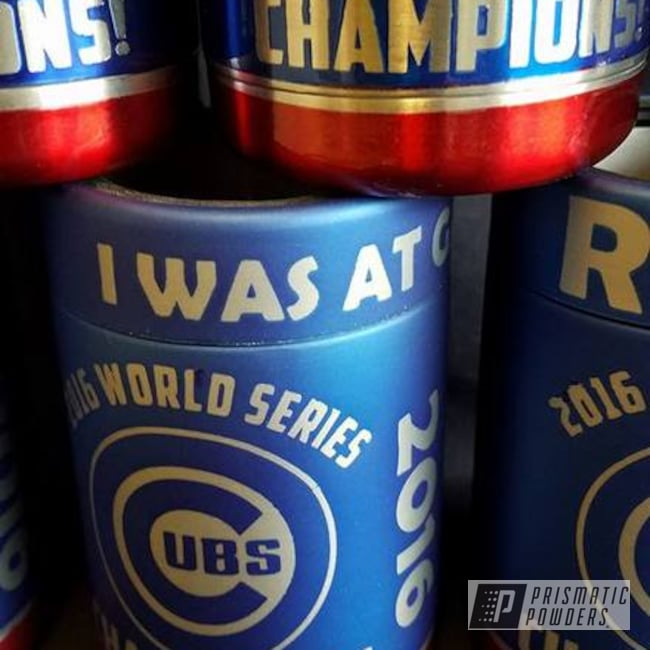 Powder Coating: Multi-Powder Application,Chicago Cubs Theme,Cheater Blue PPB-6815,Baseball,LOLLYPOP RED UPS-1506,MLB,Clear Top Coat,Custom 2 Coats,Casper Clear PPS-4005,Custom Can Koozies,Miscellaneous