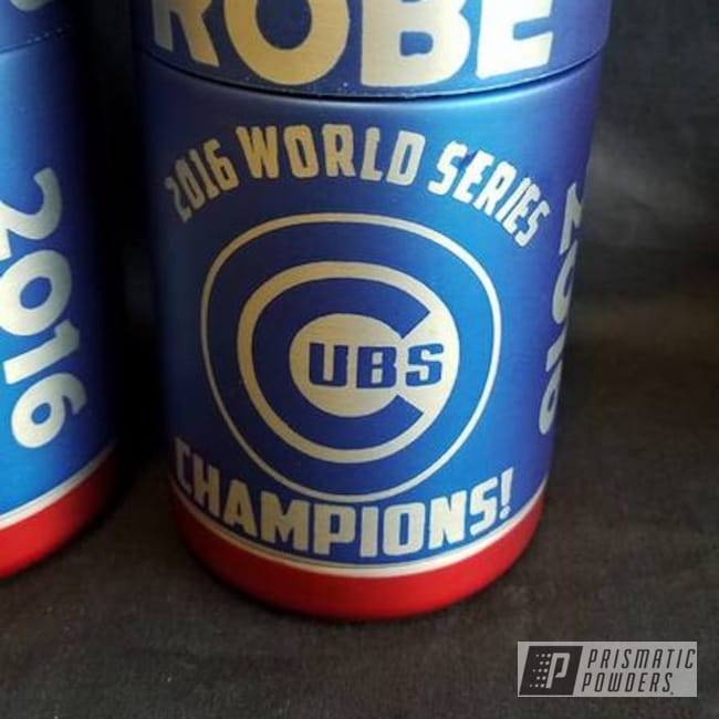 Powder Coating: Multi-Powder Application,Chicago Cubs Theme,Cheater Blue PPB-6815,Baseball,MLB,Lollypop Red UPS-1506,Clear Top Coat,Custom 2 Coats,Casper Clear PPS-4005,Custom Can Koozies,Miscellaneous