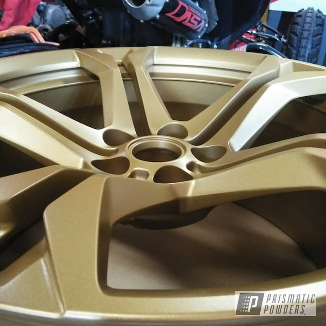 "Powder Coating: Wheels,Automotive,20'',20"" Aluminum Wheels,Satin Poly Gold PMB-6487,Chevy,Fog Clear PPB-4761,Camaro"
