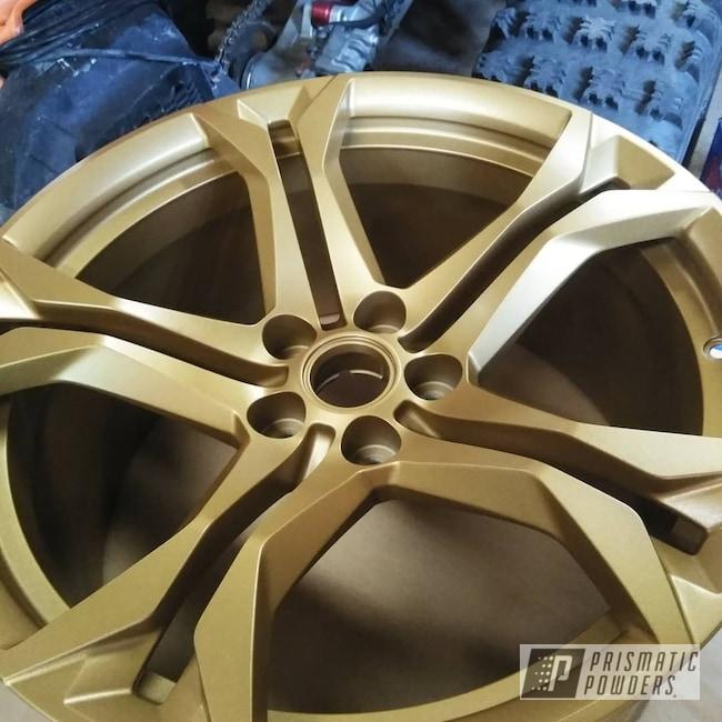 "Powder Coating: Wheels,Automotive,20'',20"" Aluminum Wheels,Satin Poly Gold PMB-6487,Chevy,Fog Clear PPB-4761,Camaro"