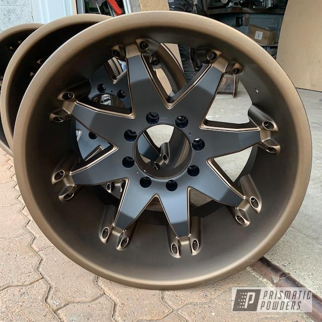 "Powder Coating: Wheels,Automotive,BLACK JACK USS-1522,Bronze Chrome PMB-4124,20"",Matte Finish,Fuel Wheels,Two Tone,Casper Clear PPS-4005"