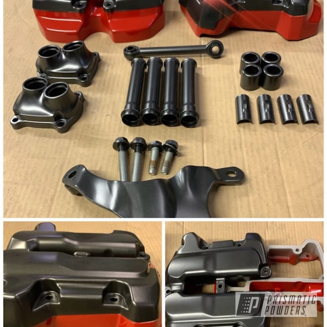 Powder Coating: Harley Davidson,Evo Grey PMB-5969,Really Red PSS-4416,Harley Parts,Road glide,Motorcycles,Two Tone