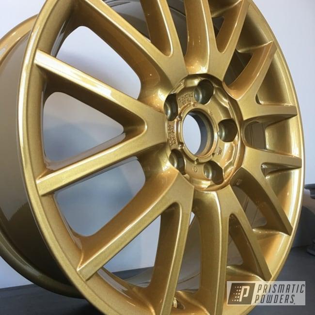 "Powder Coating: Wheels,18"",Automotive,Clear Vision PPS-2974,Custom Wheels,Spanish Gold EMS-0940"