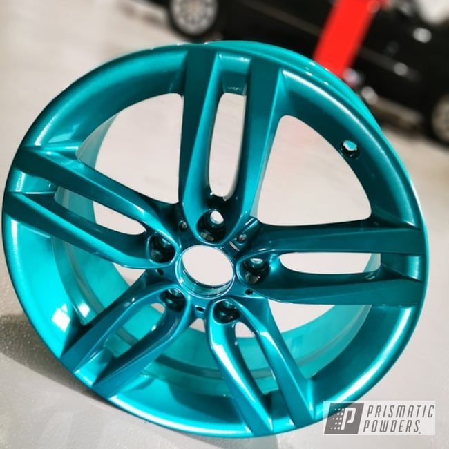 "Powder Coating: Wheels,19"",Automotive,BMW 5,JAMAICAN TEAL UPB-2043,BMW,19"" Aluminum Rims,Sport,Alien Silver PMS-2569"